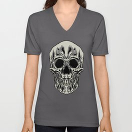 Skull Human Skeleton Bones Teeth Bony Mask Gift  Unisex V-Neck