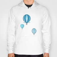 hot air balloons Hoodies featuring Hot air balloons - blue mountains by Tat Georgieva