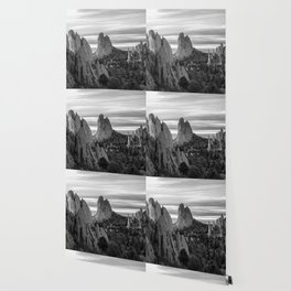 Garden of the Gods - Colorado Springs Landscape in Black and White Wallpaper