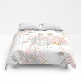Roses Gold Glitter Pink by Nature Magick Comforters