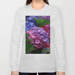 Colorful Rose Blue Lilac Hydrangea Hortensia Flower Long Sleeve T-shirt