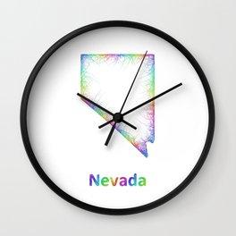 Rainbow Nevada map Wall Clock