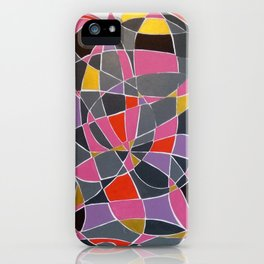 Pink, Purple and gray Heart abstract iPhone Case