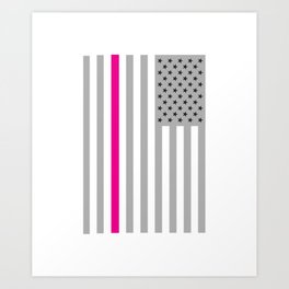 American Flag Pink Ribbon Breast Cancer Awareness Art Print