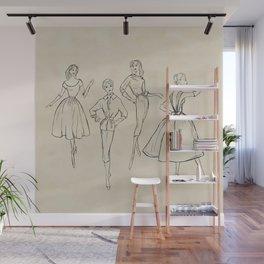 Vintage Fashion Sketches Wall Mural