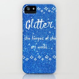 Quirky funny glitter - blue iPhone Case