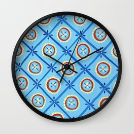 Circle in a Square, Blue and Red Wall Clock