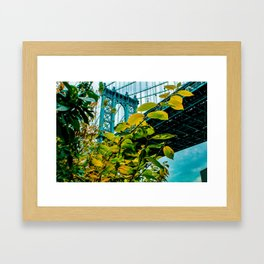 Manhattan Bridge Meets Autumn Framed Art Print
