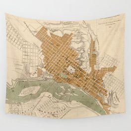 Vintage Map of Richmond VA (1864) Wall Tapestry