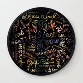 Marigold + Words Overlay Wall Clock