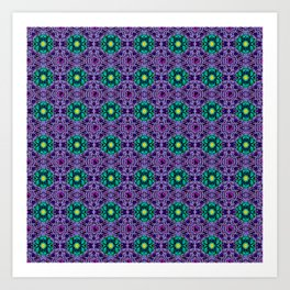 Dark Dahlia Pattern Art Print