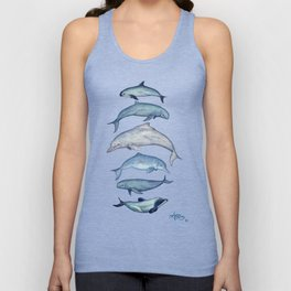 """Rare Cetaceans"" by Amber Marine - Watercolor dolphins and porpoises - (Copyright 2017) Unisex Tank Top"