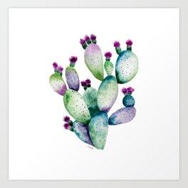Colorful Prickly Pear Cactus Art Print