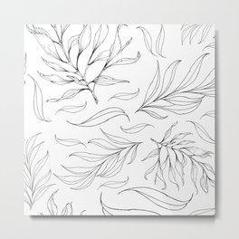 black white wonter floral Metal Print