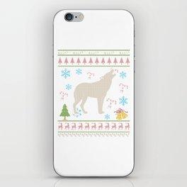 Wolf Hunting Christmas ugly Holiday Shirt iPhone Skin