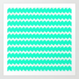 Aqua and White Sawtooth Pattern Art Print