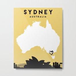 SYDNEY AUSTRALIA LOVE CITY SILHOUETTE SKYLINE ART Metal Print