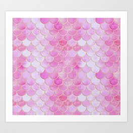 Pink Pearlescent Mermaid Scales Pattern Art Print