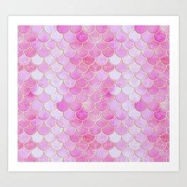 Pink Pearlescent Mermaid Scales Pattern Art Print