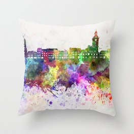 Brasov skyline in watercolor background Throw Pillow