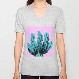 Turquoise cactus Unisex V-Neck