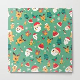Christmas Pattern- santa claus with cute animals Metal Print