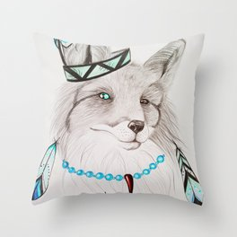 Fox with feathers Throw Pillow