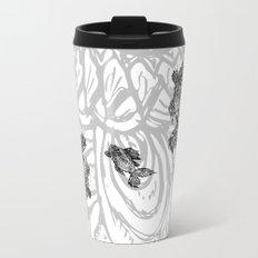 Fish Grunge Lineart Metal Travel Mug