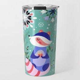 Happy Raccoon Card Travel Mug