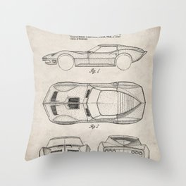 Classic Car Patent - American Car Art - Antique Throw Pillow