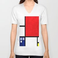 mondrian V-neck T-shirts featuring Mondrian TARDIS by Sama B