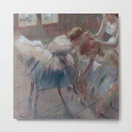 Three Dancers Preparing for Class Metal Print