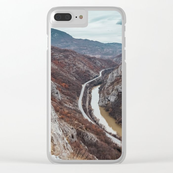 Beautiful photo of the canyon in Serbia, with river and the highway in the middle Clear iPhone Case
