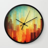 bright Wall Clocks featuring Urban sunset by SensualPatterns