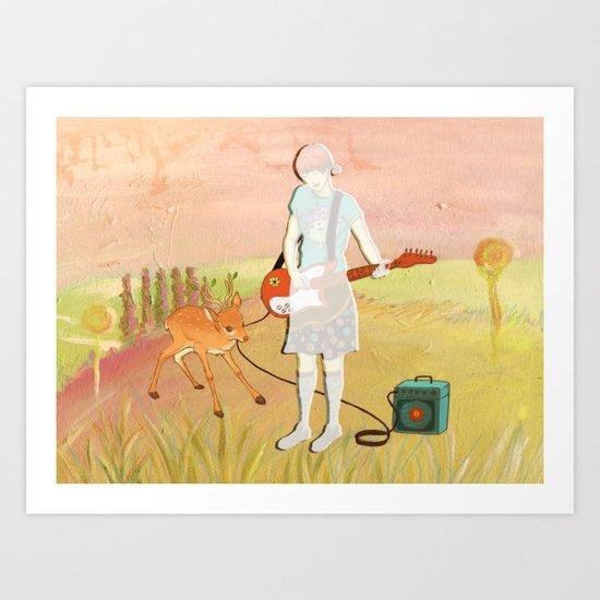 Guitar Fawn Art Print