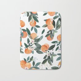 Dear Clementine - oranges on white Bath Mat