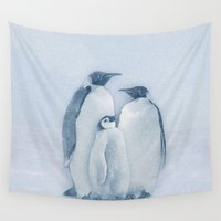penguins Wall Tapestries featuring Penguins by Asya Solo