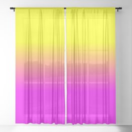 Neon Yellow and Bright Hot Pink Ombré  Shade Color Fade Sheer Curtain