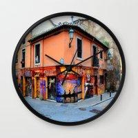 grafitti Wall Clocks featuring Grafitti on Elvira Street by Simon Ede Photography