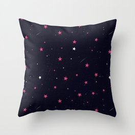 Pink Night Sky Stars  Throw Pillow
