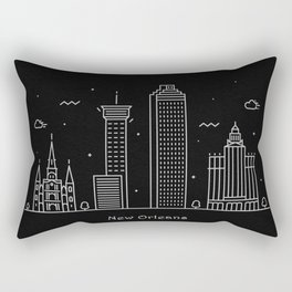 New Orleans Minimal Nightscape / Skyline Drawing Rectangular Pillow