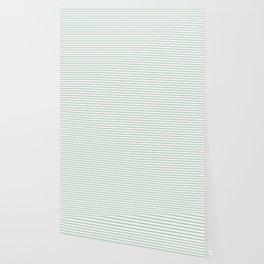 Mattress Ticking Narrow Horizontal Striped Pattern in Moss Green and White Wallpaper
