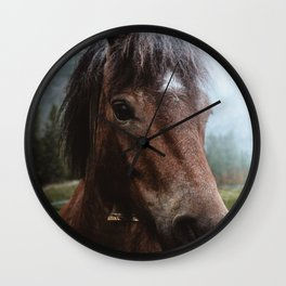 Brown Pony with a Cute Face Wall Clock