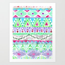 Watercolor Aztec Pattern Mint Art Print