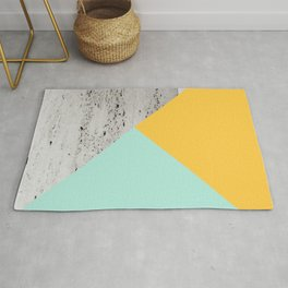 Yellow and Mint meets Concrete Geometric #1 #minimal #decor #art #society6 Rug