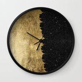 Faux Gold & Black Starry Night Brushstrokes Wall Clock
