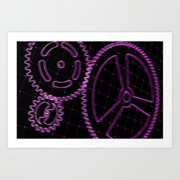 Set of purple gears and cogs on virtual screen Art Print