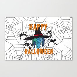 Witch Happy Halloween white Canvas Print