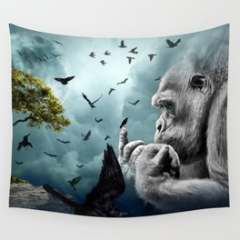 Gorilla discovers crows by GEN Z Wall Tapestry