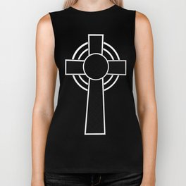 St Patrick's Day Celtic Cross Black and White Biker Tank
